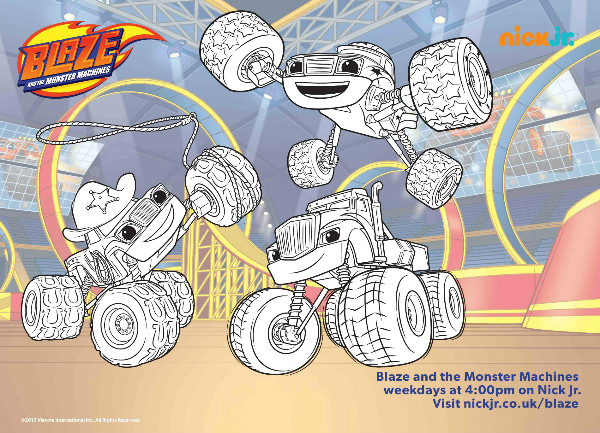 blaze and the monster machines colouring page