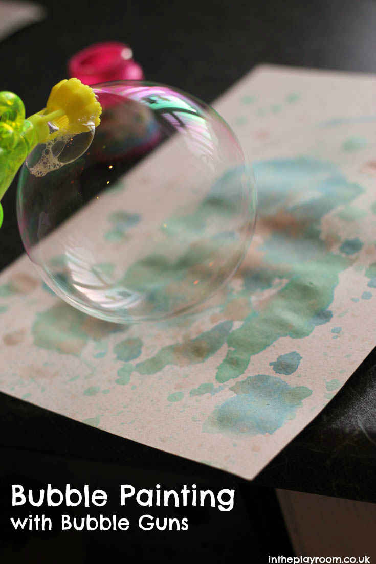bubble painting process art with bubble guns