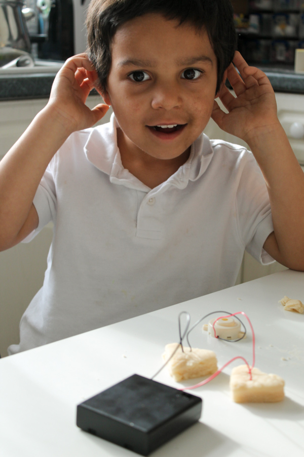 Use electric playdough to power a buzzer and make noisy playdough. Great science idea for kids!