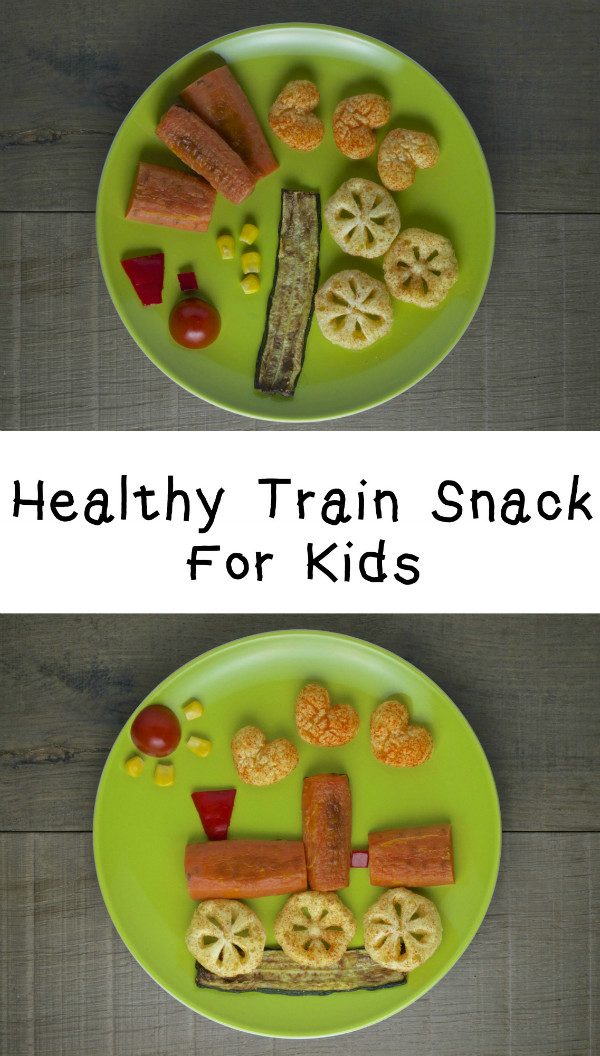 healthy train snack for kids. A fun way to encourage children to eat vegetables
