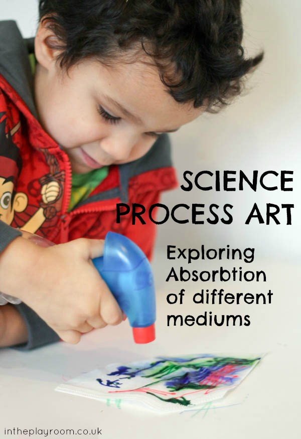 Experimenting with absorption of different mediums, a science and art activity for preschoolers
