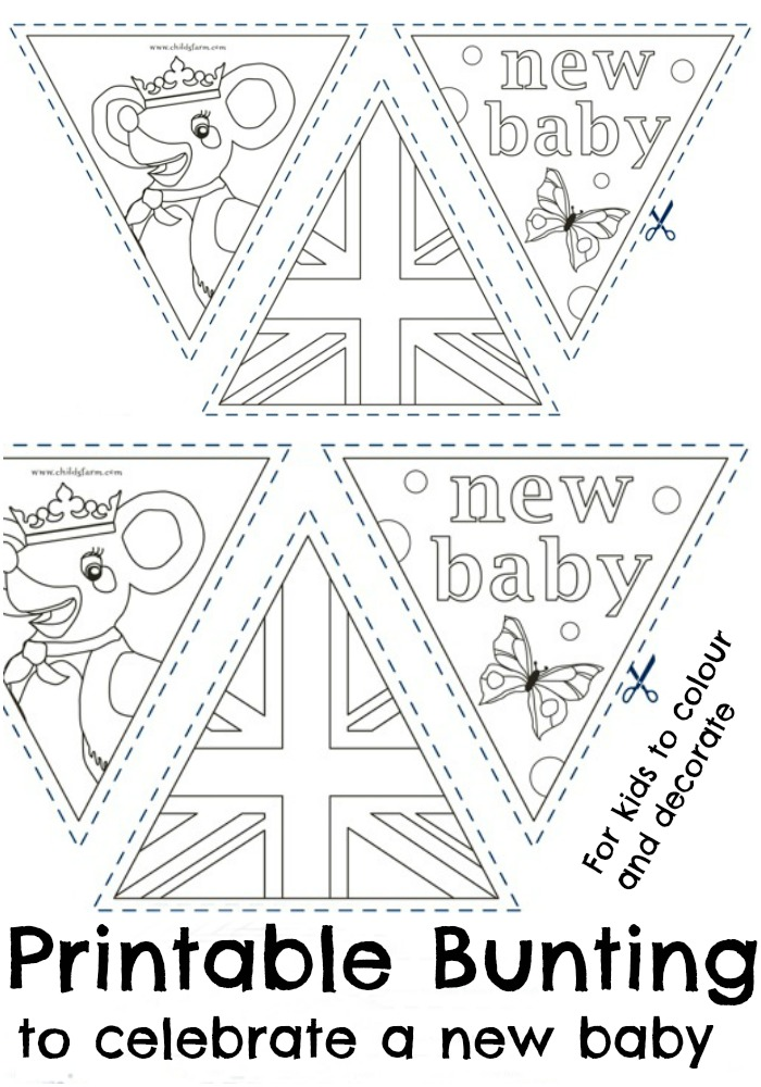 printable bunting to colour in and decorate, to celebrate a new baby. With a British royal baby theme including union jack and a princess cartoon as well as new baby wording.