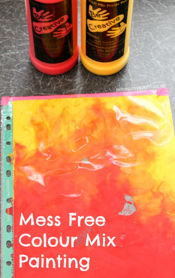 Mess free colour mix painting. A fun and creative paint sensory bag, you can also make prints and keep the artwork, so a good way to introduce babies to painting or to learn about what colour is made when you mix different colours together