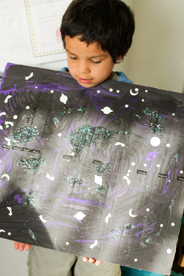 outer space solar system painting art project