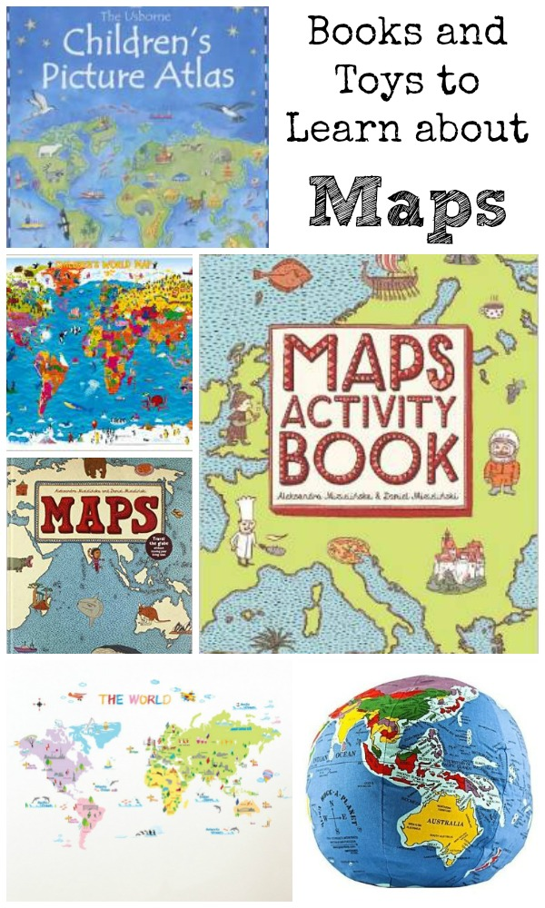 Books toys and resources to help children to learn about maps, and their world