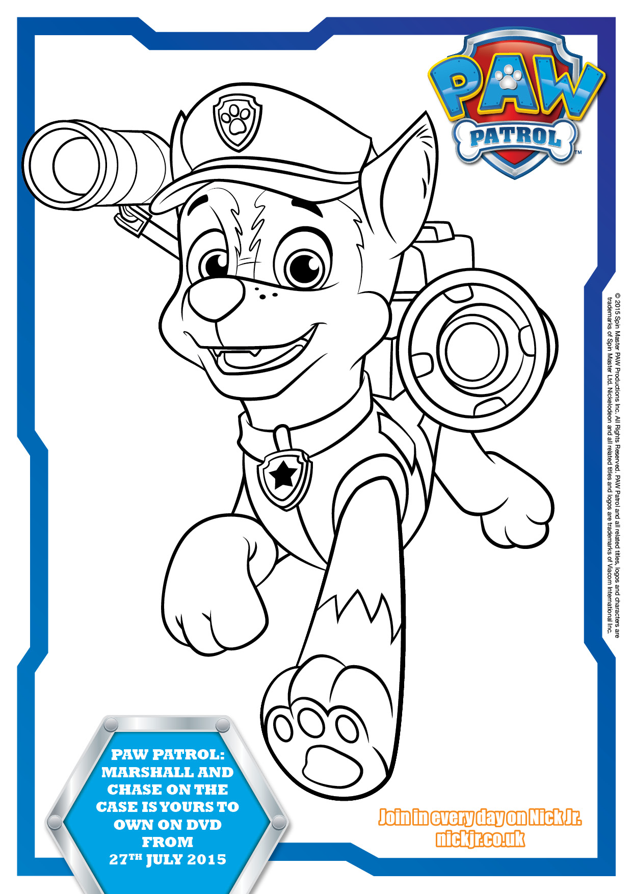 Free Paw Patrol Printable Colouring