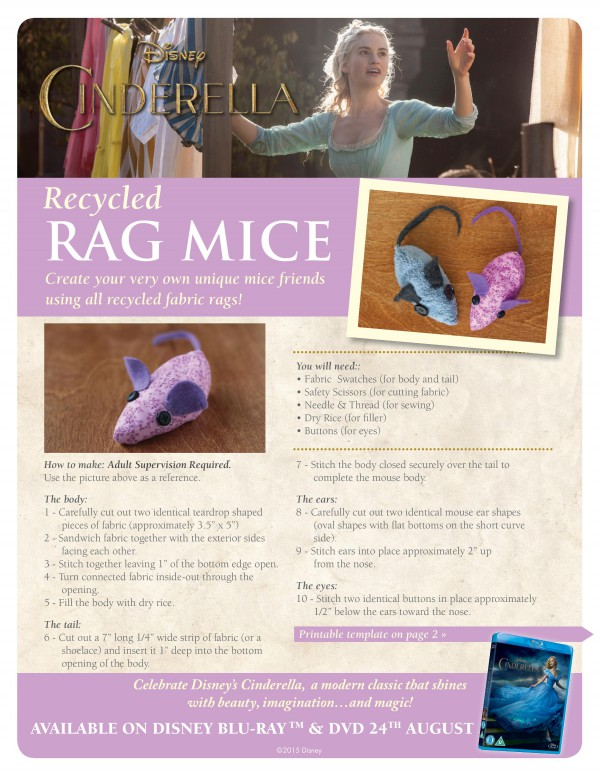 Recycled rag mice craft inspired by Cinderella