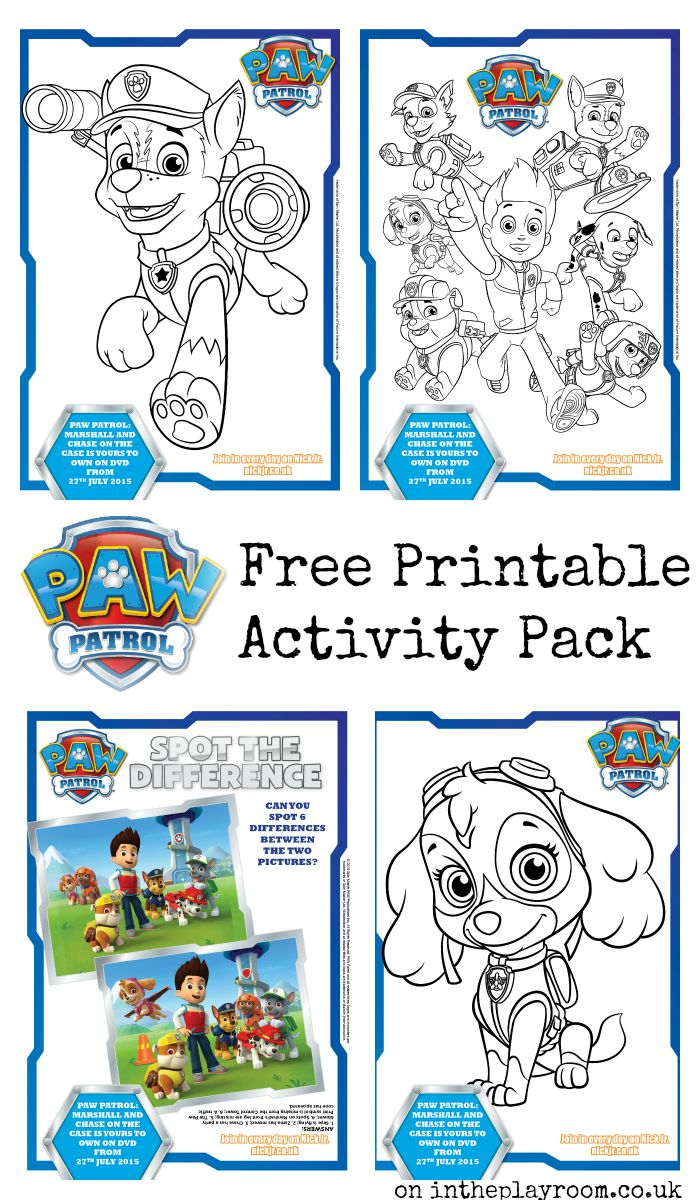 ... Paw Patrol colouring pages and activity sheets (spot the difference