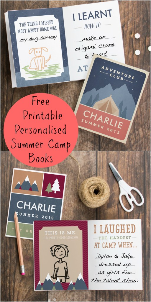 Free personalised summer camp printable books to keep summer camp memories