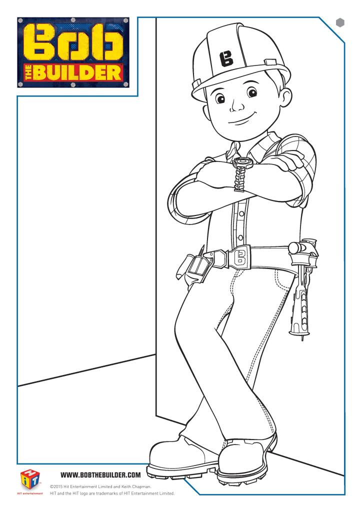 Bob the builder colouring page free printable for kids, with the new version of Bob the Builder