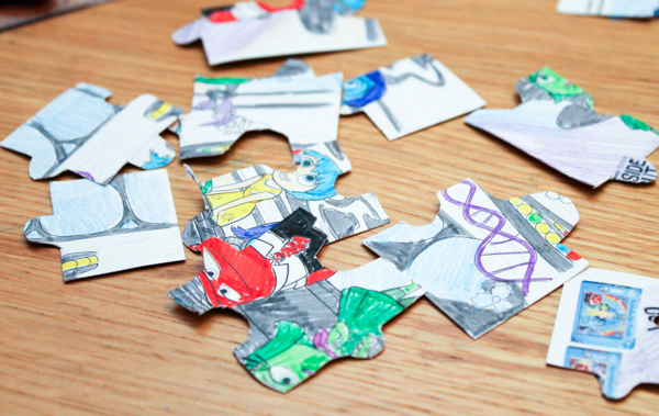 DIY colour in puzzle craft for kids to make. Disney Inside Out themed
