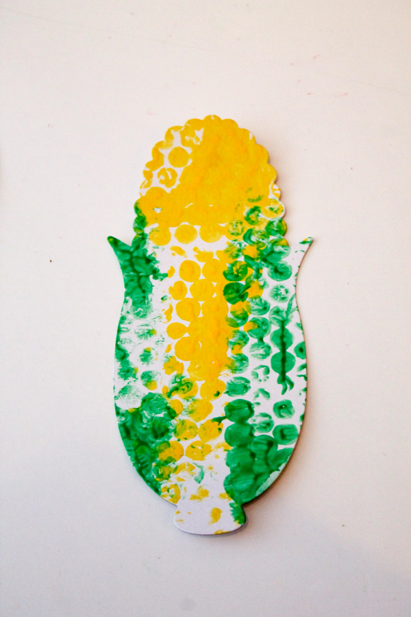 bubble wrap print corn craft for kids - good for harvest or fall time