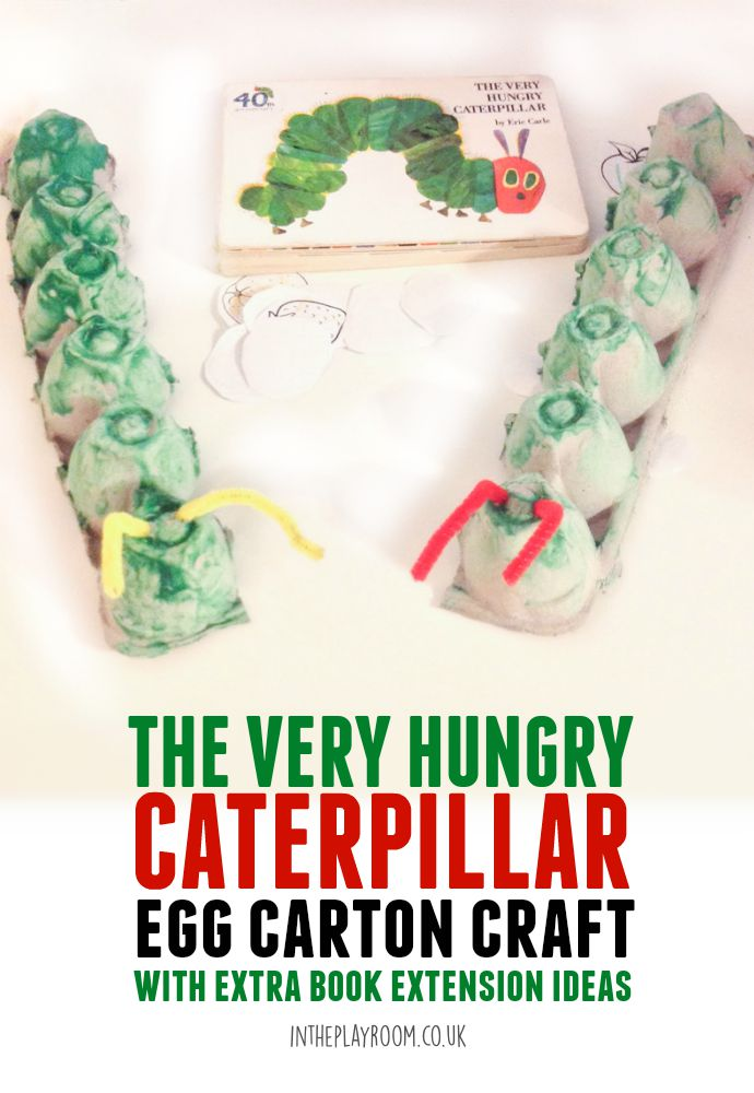 Simple and easy The Very Hungry Caterpillar egg carton craft for kids. Great way to extend the book, and there are more caterpillar activities suggested in the post too