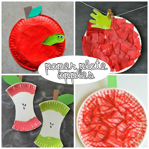 Paper plate apple crafts for kids. Great for autumn fall season or back to school