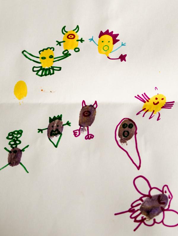 fingerprint monster doodles for kids