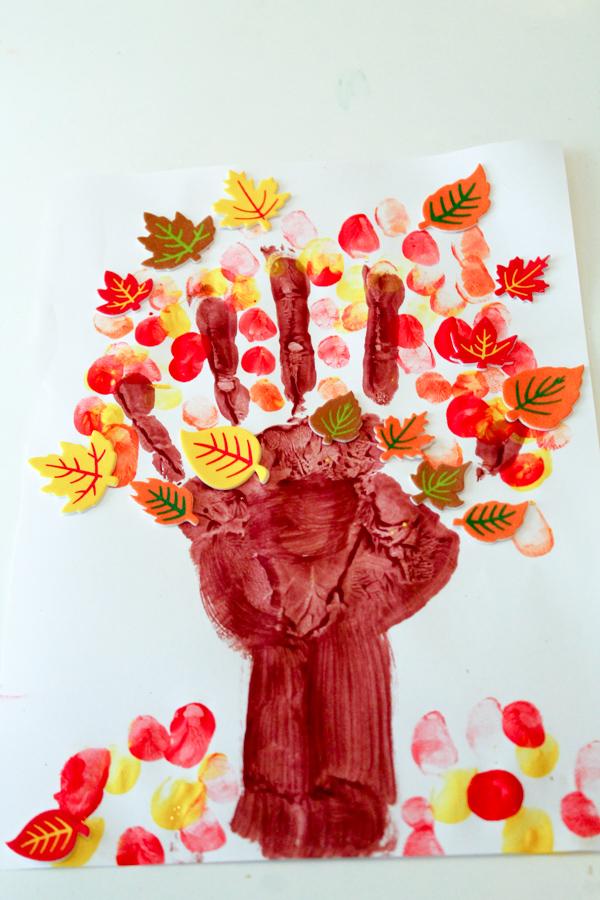 Autumn tree handprint craft for fall