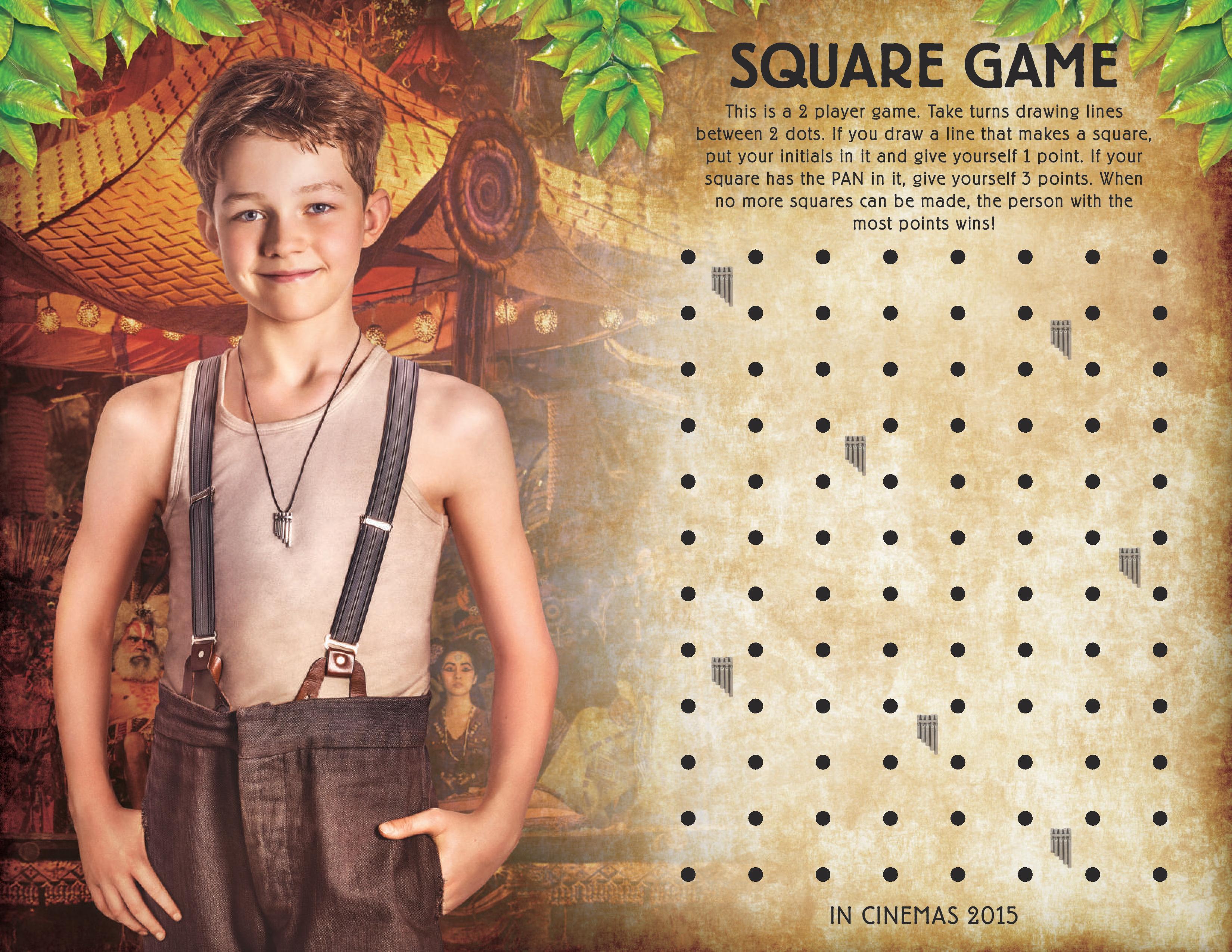 printable peter pan squares game activity sheet