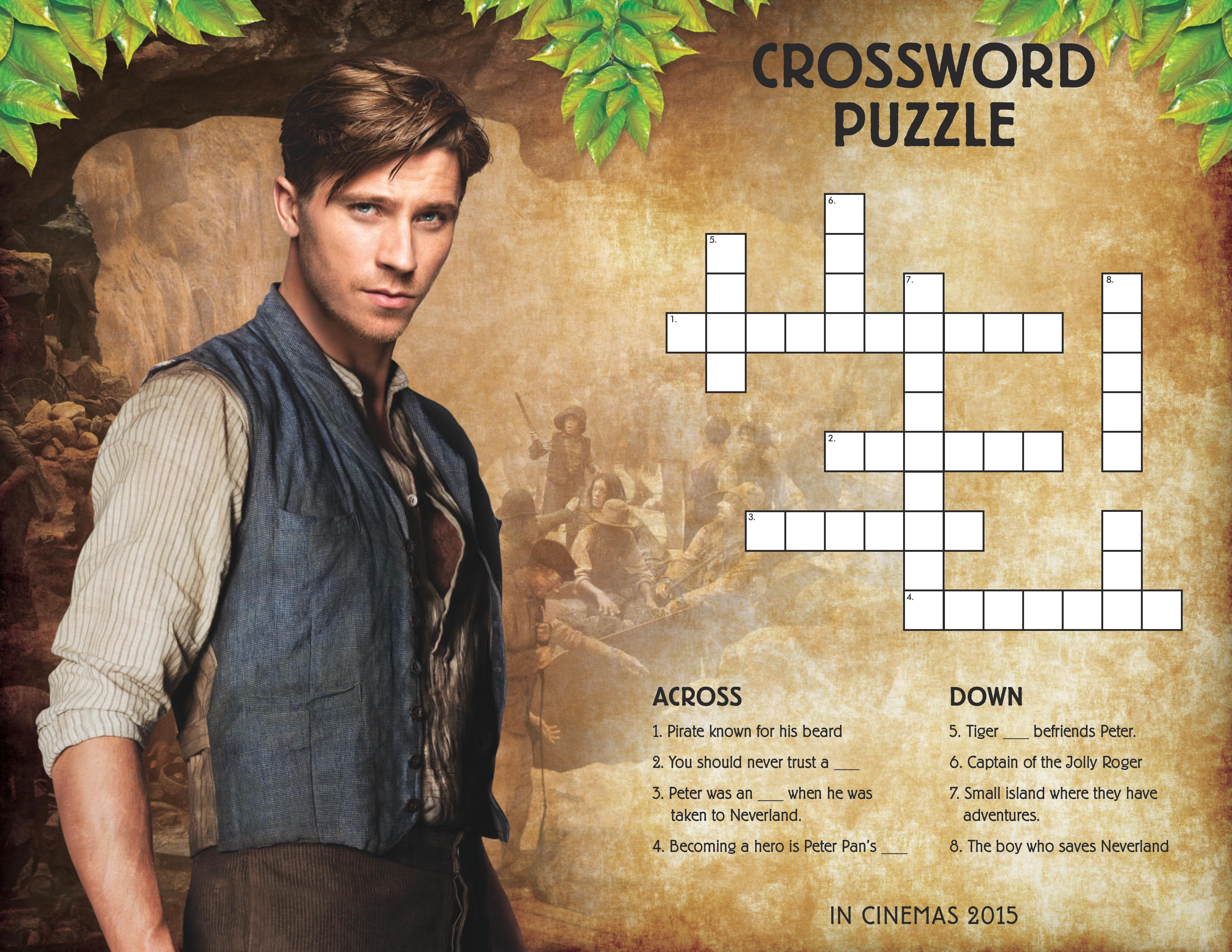 Peter Pan cross word puzzle from the new Pan movie