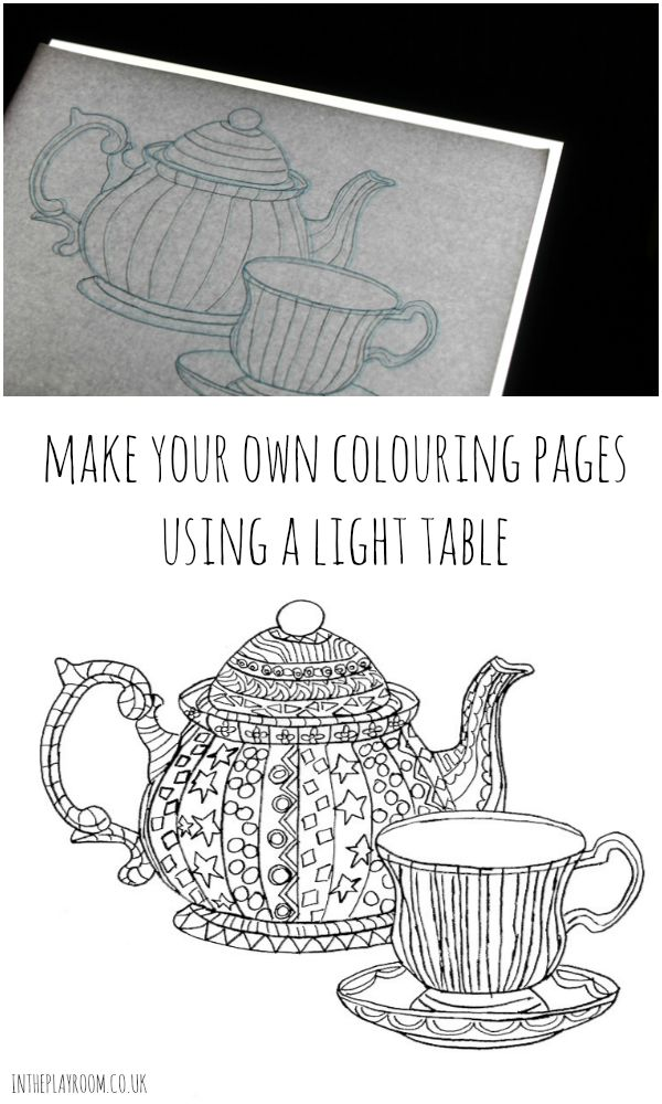 How to make your own colouring pages using a light table. Use with zentangle templates, and design your own grown up colouring pages