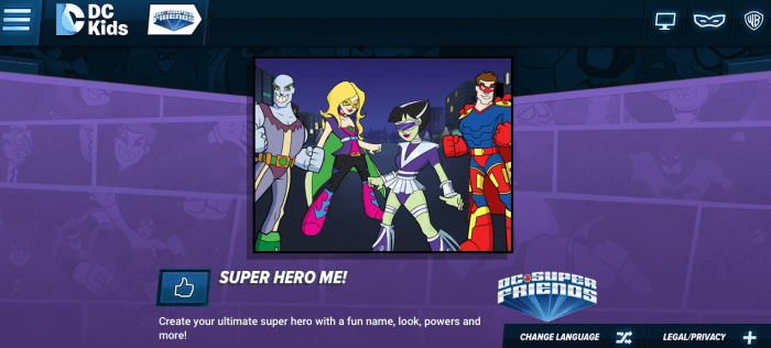 create your own super hero on DC Kids site