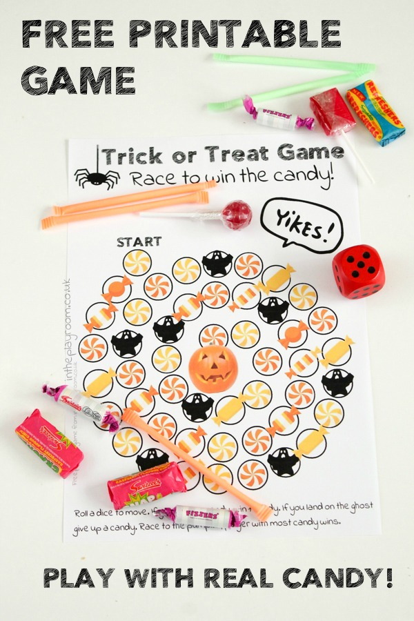 Fun Trick or treat Halloween themed Free printable game for kids to play with real candy.