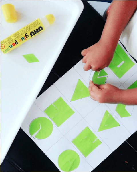 cutting and sticking parts to make shapes. Educational activity for toddlers and preschoolers