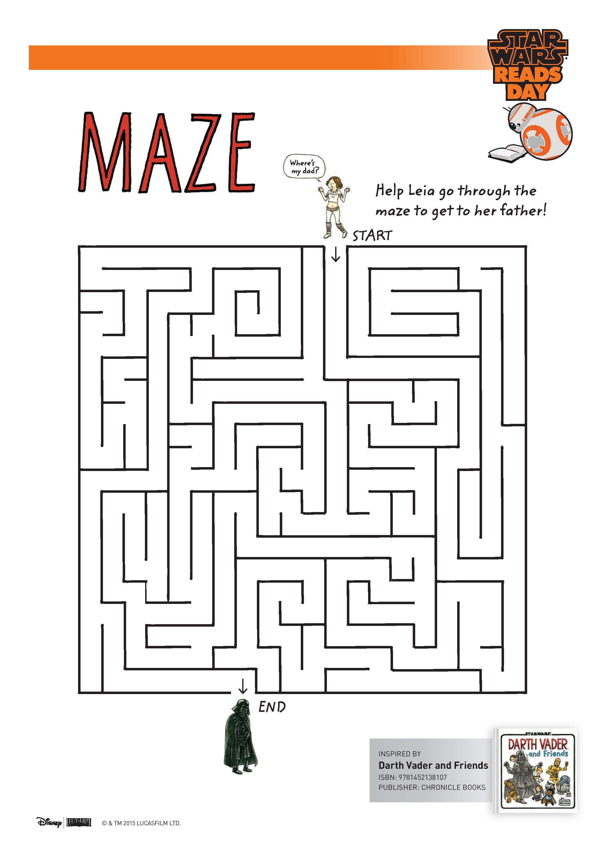 Star Wars Leia and Darth Vader Maze printable activity for kids