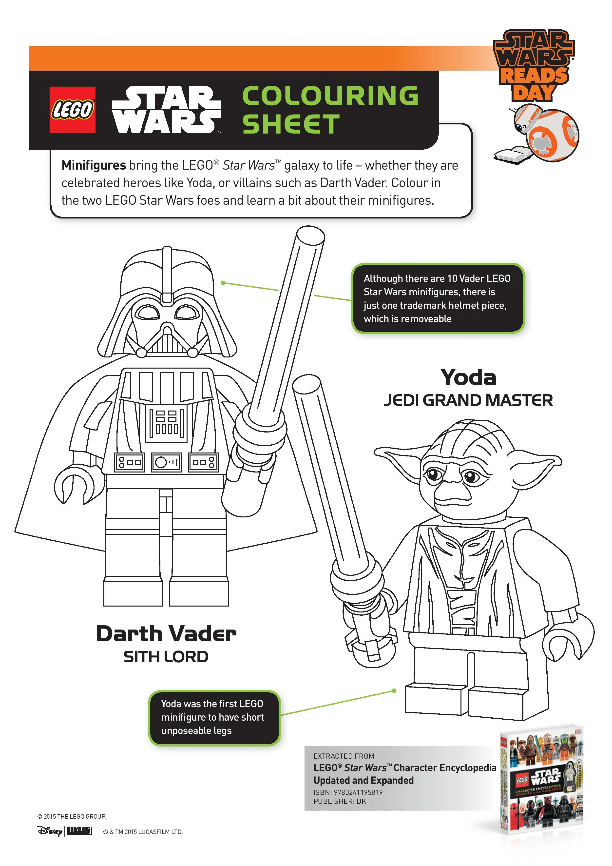 Lego Star Wars Colouring Sheet with Darth Vader and Yoda
