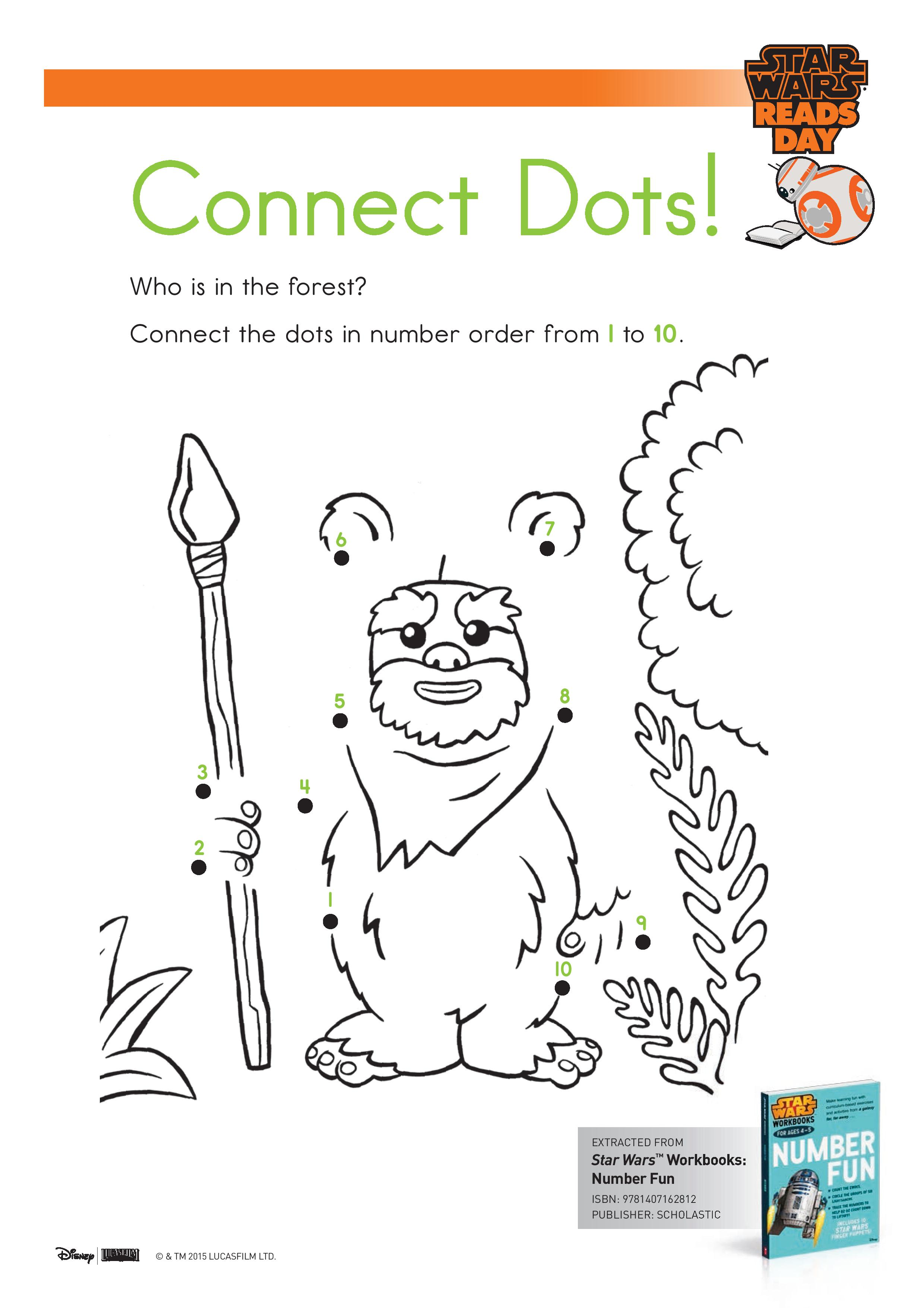 Star Wars Connect the Dots, dot to dot activity page printable