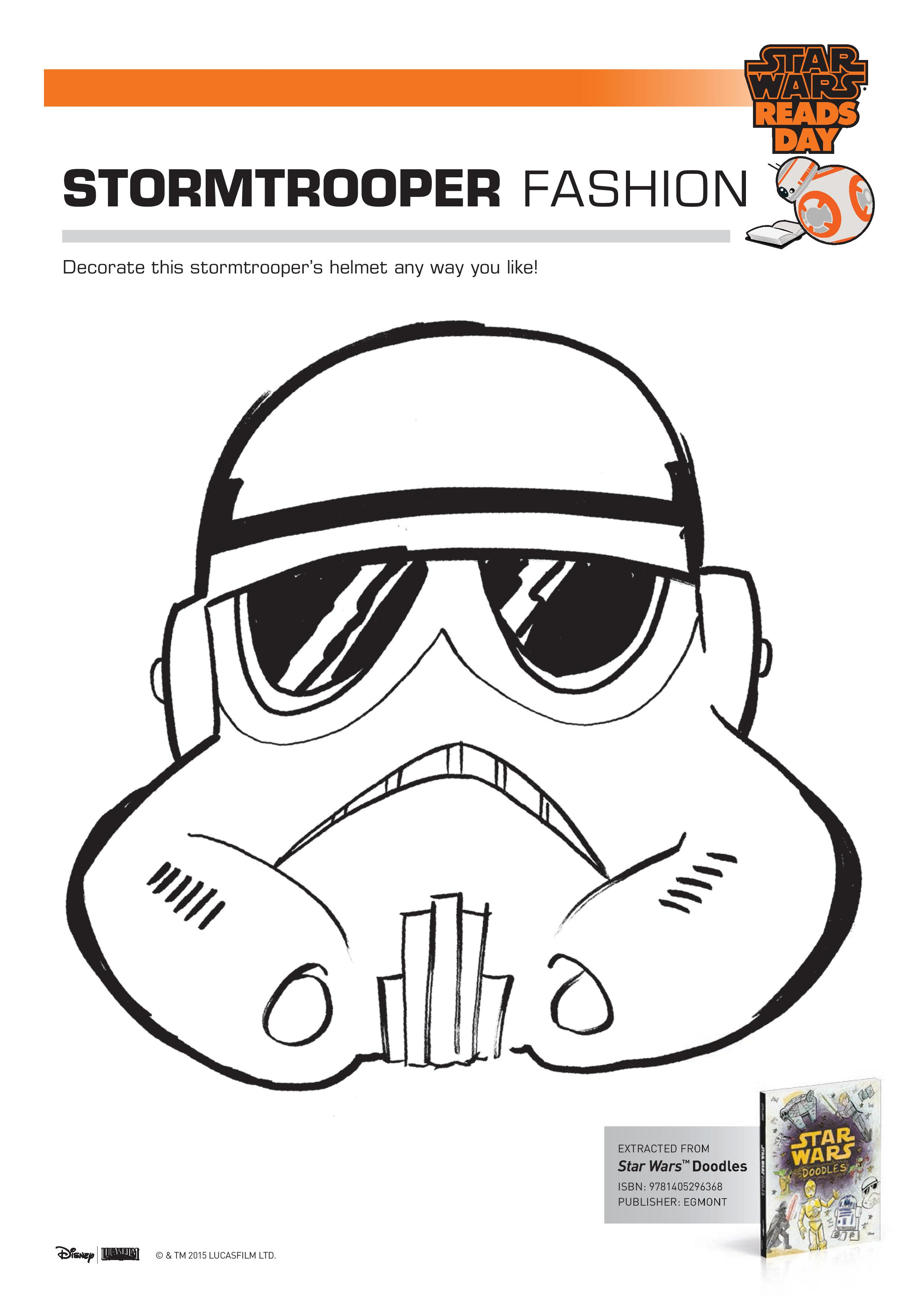 Star Wars Storm Trooper Fashion colouring page printable. Decorate the storm troopers helmet