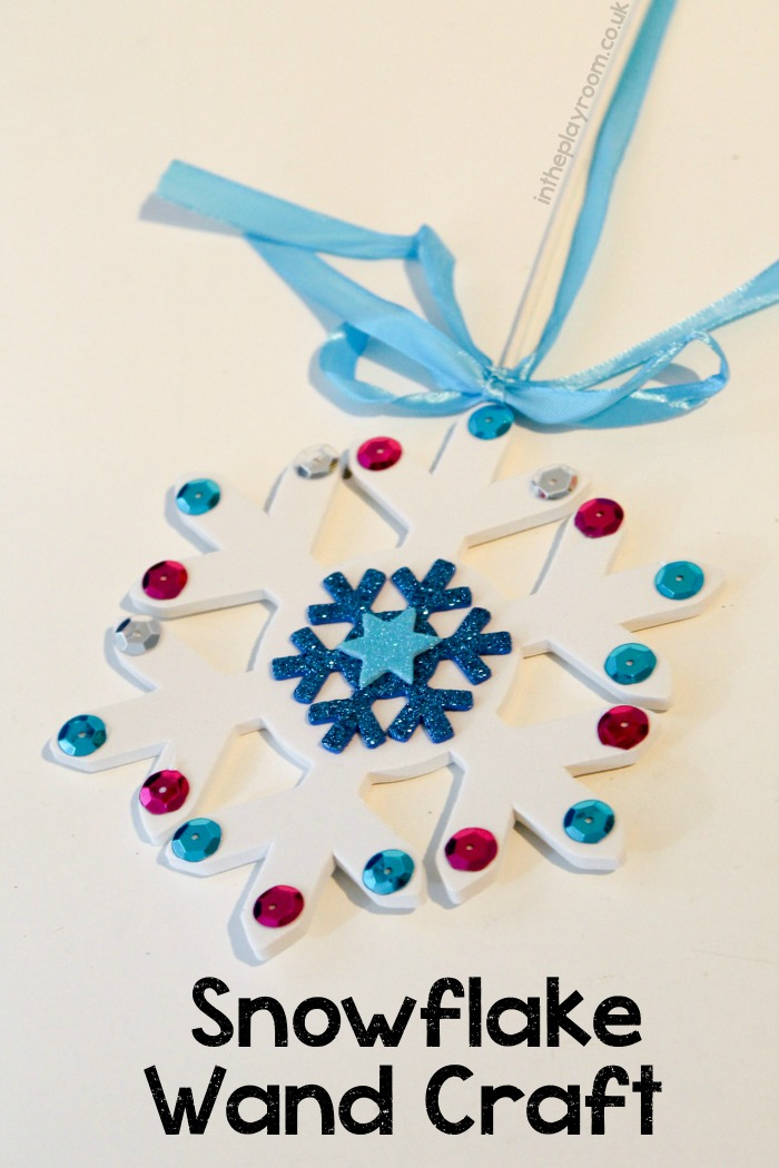 Winter magic snowflake wand craft for kids. Works for a Frozen theme!