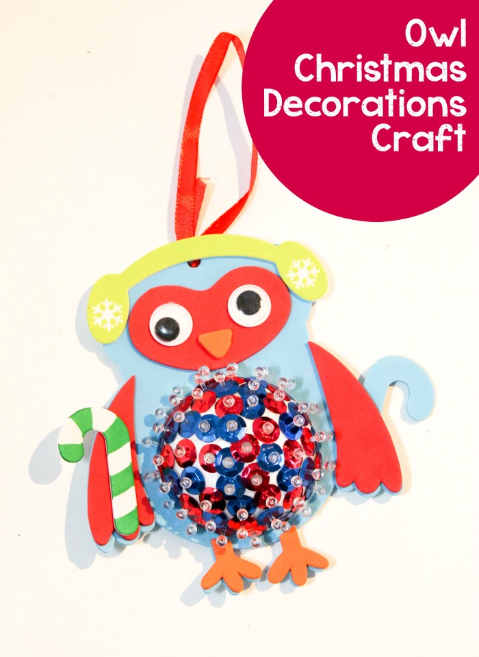 Sequin Owl Decorations for the Christmas tree. Fine motor craft for kids