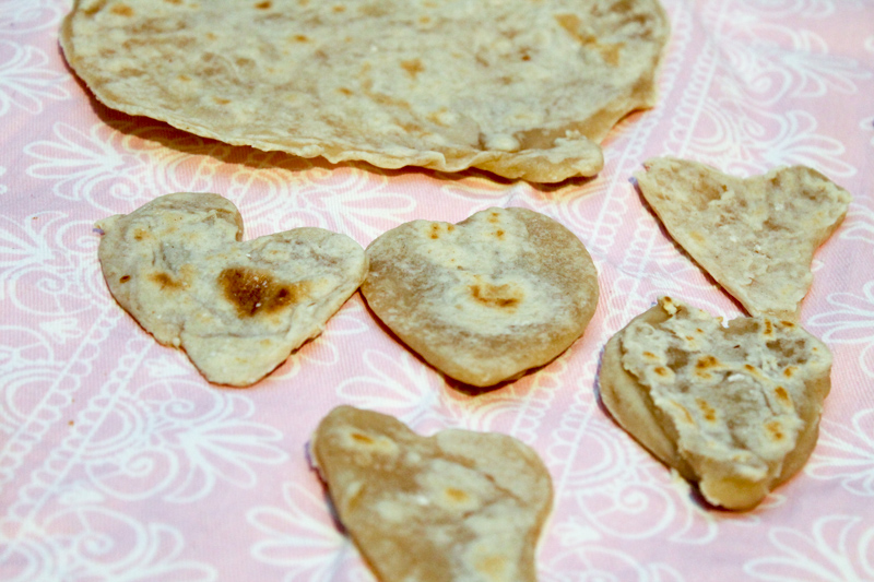 home made heart shaped roti by a 4 year old
