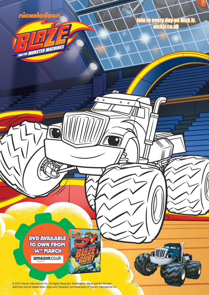 blaze and the monster machines colouring page printable for kids