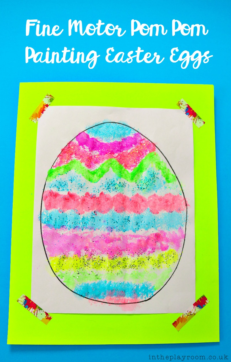 simple and fun fine motor activity for kids, with an Easter theme. Use pom poms and clothes pins to paint your easter egg