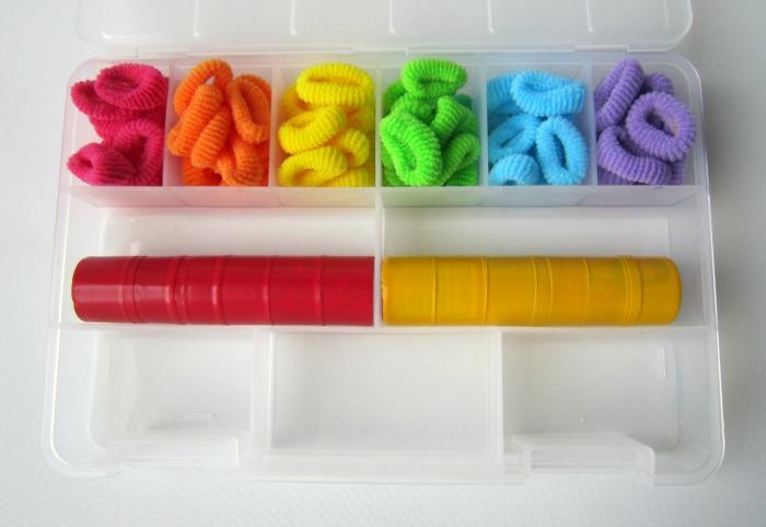 Rainbow hair bobble busy bag