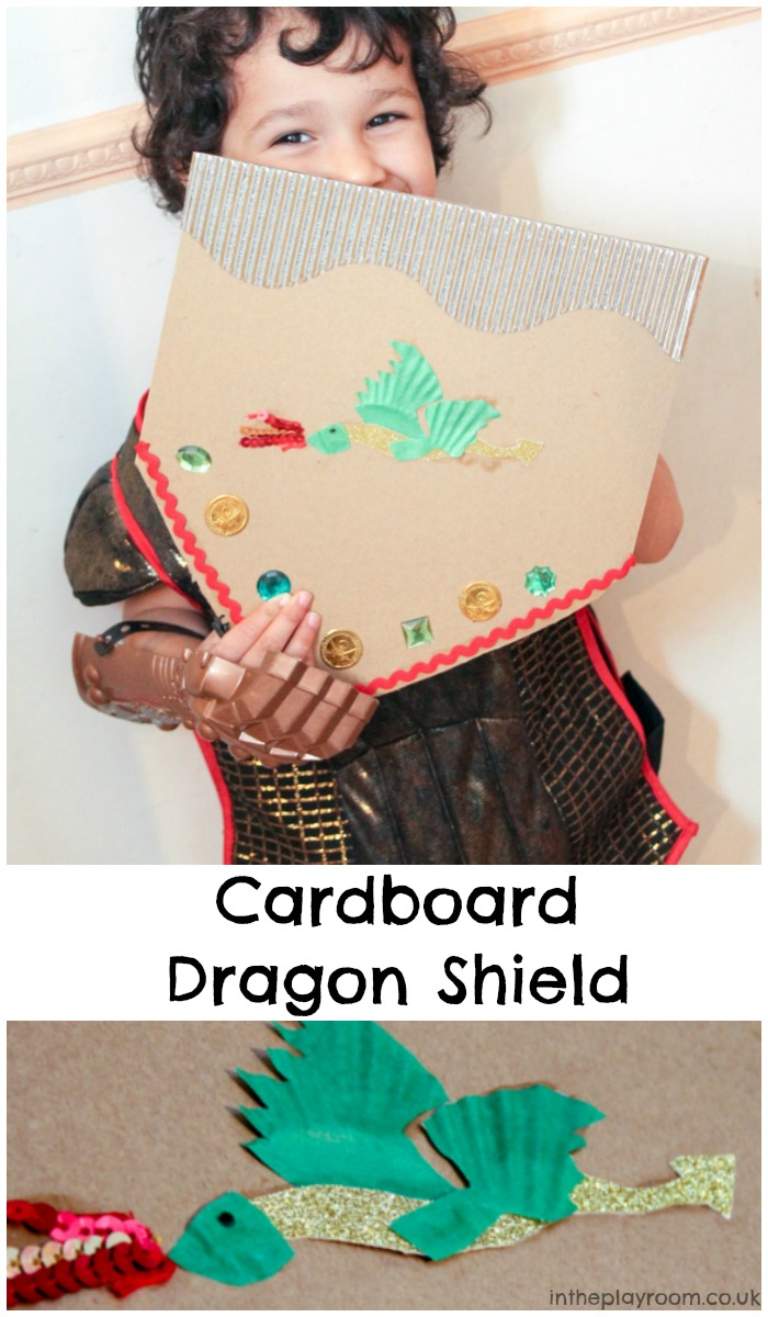 cardboard dragon shield craft for kids, simple to add to a diy knight costume or for pretend play