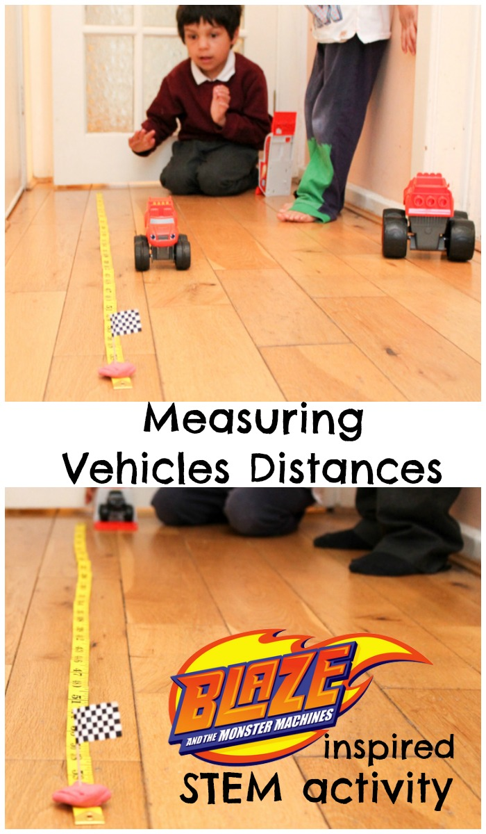measuring vehicles and distances, fun hands on STEM activity inspired by Blaze and the Monster Machines