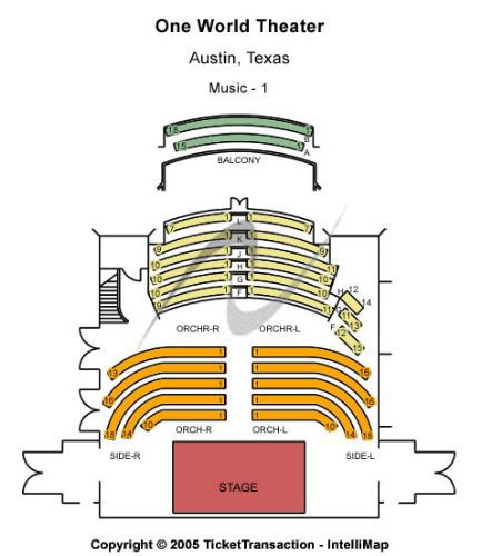 One World Theater Information and Address 7701 Bee Cave Road - printable seating charts