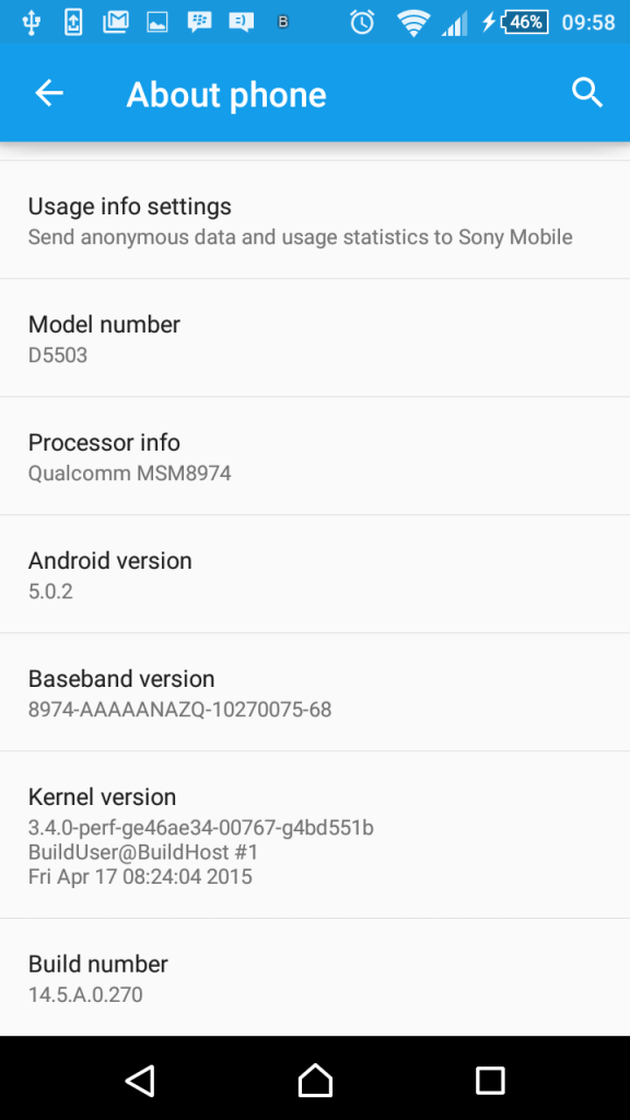 Sony Xperia Z1 Compact Build Number