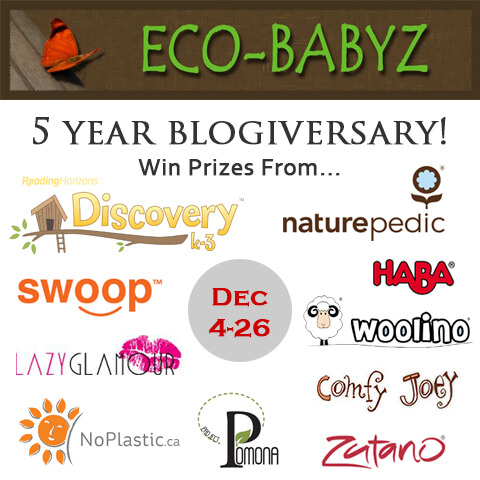 Enter to win fabulous prizes to help celebrate Eco-Babyz 5 Year Blogiversary!