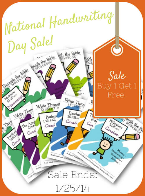 National Handwriting Day Sale! Buy 1 Get 1 Free Write Through the Bible workbooks. Sale ends 12514