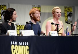 (L-R) Actors Adam Driver, Domhnall Gleeson and Gwendoline Christie