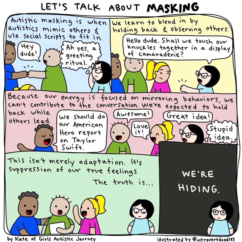 Bande dessinée en anglais sur le masking par introvertdoodles