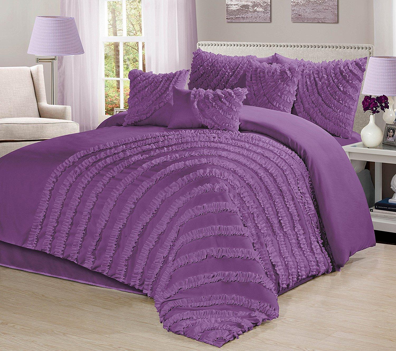 Bednlinens 7 Pc Hillary Bed Ruffled Comforter Set Purple