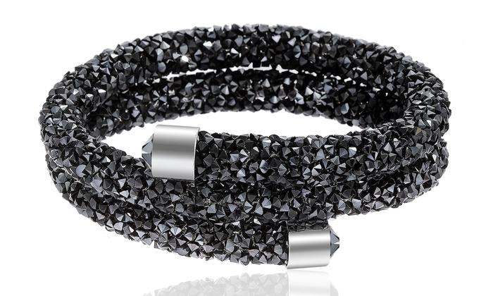 Swarovski Elements Crystal Dust Double Wrap Bangle