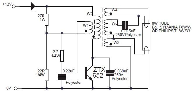 8w fluorescent lamp inverter based ztx652