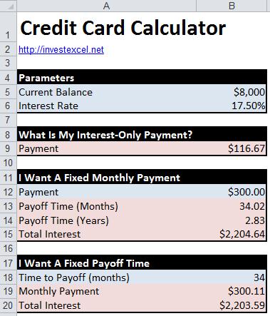 calculator for credit card interest