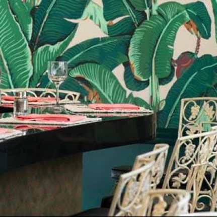 The iconic banana leaf wallpaper at the Fountain Coffee Room