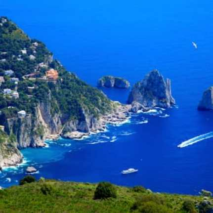 Panorama above Capri Island boats and Faraglioni